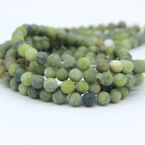 Shop Jade Bead Shapes! Matte Green Jade Beads Nephrite Beads Natural Olive Jade Beads 6mm 8mm 10mm Green Mala Beads Olive Gemstone Beads Green Jewelry Supplies | Natural genuine other-shape Jade beads for beading and jewelry making.  #jewelry #beads #beadedjewelry #diyjewelry #jewelrymaking #beadstore #beading #affiliate #ad