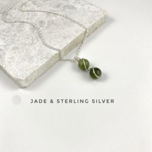 Shop Jade Pendants! Dainty Jade pendant necklace, Sterling Silver. | Natural genuine Jade pendants. Buy crystal jewelry, handmade handcrafted artisan jewelry for women.  Unique handmade gift ideas. #jewelry #beadedpendants #beadedjewelry #gift #shopping #handmadejewelry #fashion #style #product #pendants #affiliate #ad