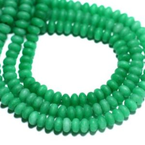 Shop Jade Rondelle Beads! 30pc – beads – Jade Rondelles 5x3mm green frosted matte Empire – 8741140008182 | Natural genuine rondelle Jade beads for beading and jewelry making.  #jewelry #beads #beadedjewelry #diyjewelry #jewelrymaking #beadstore #beading #affiliate #ad