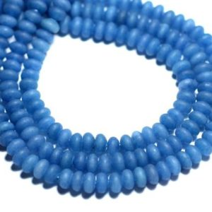 Shop Jade Rondelle Beads! 30pc – jade stone – blue Royal Blue frosted matte – 8741140008175 5x3mm Rondelles | Natural genuine rondelle Jade beads for beading and jewelry making.  #jewelry #beads #beadedjewelry #diyjewelry #jewelrymaking #beadstore #beading #affiliate #ad