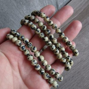 Dalmatian Jasper 6 mm Round Stretchy String Bracelet G186 | Natural genuine Jasper bracelets. Buy crystal jewelry, handmade handcrafted artisan jewelry for women.  Unique handmade gift ideas. #jewelry #beadedbracelets #beadedjewelry #gift #shopping #handmadejewelry #fashion #style #product #bracelets #affiliate #ad