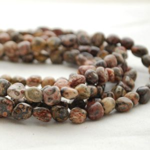 "Shop Jasper Chip & Nugget Beads! High Quality Grade A Natural Leopard Skin Jasper Semi-Precious Gemstone Tumbled Stone Nugget Pebble Beads – approx 5mm – 8mm – 15.5"" strand 