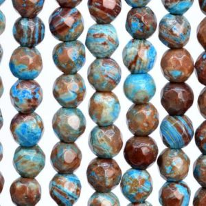 Shop Jasper Faceted Beads! Natural Blue Green Calsilica Jasper Loose Beads Faceted Round Shape 4mm | Natural genuine faceted Jasper beads for beading and jewelry making.  #jewelry #beads #beadedjewelry #diyjewelry #jewelrymaking #beadstore #beading #affiliate #ad