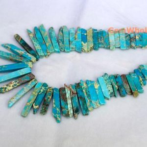 "Shop Jasper Beads! 15.5"" Blue Aqua Terra Jasper graduated,Top Drilled Stick beads, imperssion graduated jasper 20-50*6mm, Imperial Jasper Graduated Slab 
