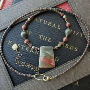 Shop Jasper Pendants! Earthy Jasper Necklace, rustic red and blue Picasso jasper pendant necklace, adjustable jewelry | Natural genuine Jasper pendants. Buy crystal jewelry, handmade handcrafted artisan jewelry for women.  Unique handmade gift ideas. #jewelry #beadedpendants #beadedjewelry #gift #shopping #handmadejewelry #fashion #style #product #pendants #affiliate #ad