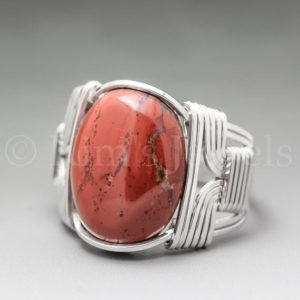 Shop Jasper Rings! Red Jasper Sterling Silver Wire Wrapped Gemstone Cabochon Ring – Optional Oxidation/Antiquing – Made to Order, Ships Fast! | Natural genuine Jasper rings, simple unique handcrafted gemstone rings. #rings #jewelry #shopping #gift #handmade #fashion #style #affiliate #ad
