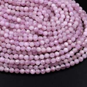 "Natural Kunzite Faceted 2mm 3mm 4mm Round Beads Laser Diamond Cut Real Genuine Violet Purple Kunzite Gemstone 15.5"" Strand 