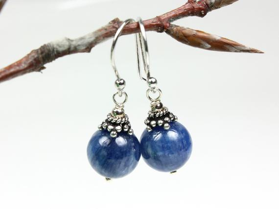 Blue Kyanite Sterling Silver Earrings Natural Deep Blue Gemstone Classic Boho Luxe Dangle Drops Birthday Anniversary Gift For Her Women 5605