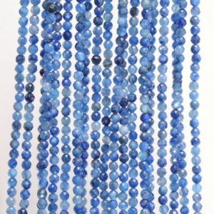 Shop Kyanite Faceted Beads! 2MM Genuine Kyanite Gemstone Deep Blue Grade AAA Micro Faceted Round Loose Beads 15 inch Full Strand (80007805-488) | Natural genuine faceted Kyanite beads for beading and jewelry making.  #jewelry #beads #beadedjewelry #diyjewelry #jewelrymaking #beadstore #beading #affiliate #ad