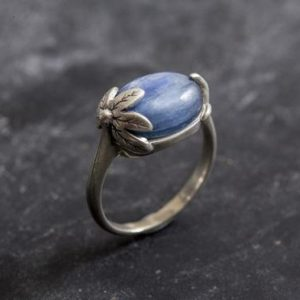 Shop Kyanite Rings! Leaf Ring, Blue Kyanite Ring, Natural Kyanite, Vintage Rings, Leaf Kyanite Ring, African Stone, Blue Ring, Solid Silver Ring, Kyanite | Natural genuine Kyanite rings, simple unique handcrafted gemstone rings. #rings #jewelry #shopping #gift #handmade #fashion #style #affiliate #ad