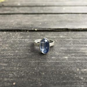 Shop Kyanite Rings! Natural Blue Kyanite Silver Ring, Kyanite Crystal Jewelry, Ring Size 6, Minimal Simple Design Fine Quality Blue Kyanite, Handmade and Silver | Natural genuine Kyanite rings, simple unique handcrafted gemstone rings. #rings #jewelry #shopping #gift #handmade #fashion #style #affiliate #ad
