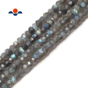 "Shop Labradorite Chip & Nugget Beads! High Quality Labradorite Faceted Nugget Rondelle Beads 6x8mm 15.5"" Strand 