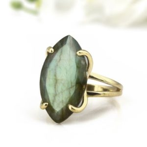 Shop Labradorite Jewelry! Labradorite Ring · Long Marquise Ring · Gemstone Ring · Prong Cocktail Ring · 14k Gold Ring · Solid Gold Ring · Double Band Ring | Natural genuine Labradorite jewelry. Buy crystal jewelry, handmade handcrafted artisan jewelry for women.  Unique handmade gift ideas. #jewelry #beadedjewelry #beadedjewelry #gift #shopping #handmadejewelry #fashion #style #product #jewelry #affiliate #ad