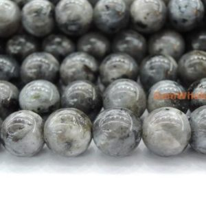 "15.5"" 8mm Black Labradorite round beads, Larvikite beads, black gemstone, semi-precious stone 