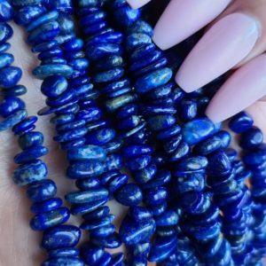 Shop Lapis Lazuli Chip & Nugget Beads! Lapis Lazuli Beads, Tumbled Chip Nugget Bead Strands with 1 mm Hole | Natural genuine chip Lapis Lazuli beads for beading and jewelry making.  #jewelry #beads #beadedjewelry #diyjewelry #jewelrymaking #beadstore #beading #affiliate #ad