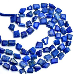 "Shop Lapis Lazuli Chip & Nugget Beads! Natural AAA+ Lapis Lazuli Gemstone Faceted Nugget Beads | Lapis Lazuli Tumbled Semiprecious Gemstone 8mm-10mm Beads for Jewelry | 14"" Strand 