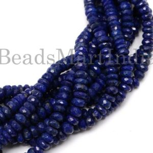 Shop Lapis Lazuli Faceted Beads! Natural Lapis Lazuli Faceted Rondelle Shape Gemstone Beads, Lapis Lazuli Faceted Beads, Lapis Lazuli Rondelle Beads, Lapis Lazuli Beads | Natural genuine faceted Lapis Lazuli beads for beading and jewelry making.  #jewelry #beads #beadedjewelry #diyjewelry #jewelrymaking #beadstore #beading #affiliate #ad