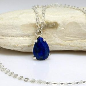 Shop Lapis Lazuli Necklaces! Lapis necklace,teardrop necklace,September birthstone,drop necklace,pear necklace,gemstone necklaces | Natural genuine Lapis Lazuli necklaces. Buy crystal jewelry, handmade handcrafted artisan jewelry for women.  Unique handmade gift ideas. #jewelry #beadednecklaces #beadedjewelry #gift #shopping #handmadejewelry #fashion #style #product #necklaces #affiliate #ad