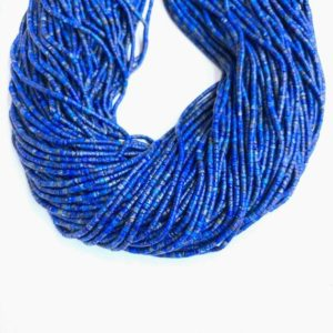 Natural Lapis Lazuli Heishi Beads 2x1mm, Tiny Lapis Lazuli Seed Beads, Small Round Cylinder Nay Blue Beads, Delicate Blue Gemstone Tube Bead | Natural genuine beads Array beads for beading and jewelry making.  #jewelry #beads #beadedjewelry #diyjewelry #jewelrymaking #beadstore #beading #affiliate #ad