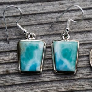 Shop Larimar Earrings! Larimar Earrings- Larimar Sterling Silver Earrings – larimar dangle earrings – Larimar – Blue Pectolite Earrings – Larimar Earrings – Blue | Natural genuine Larimar earrings. Buy crystal jewelry, handmade handcrafted artisan jewelry for women.  Unique handmade gift ideas. #jewelry #beadedearrings #beadedjewelry #gift #shopping #handmadejewelry #fashion #style #product #earrings #affiliate #ad