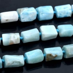 """Shop Larimar Faceted Beads! 6-9MM Dominican Larimar Beads Faceted Nugget Rectangle Tube Grade AAA Genuine Natural Gemstone Beads 16"""" Bulk Lot Options (108355-2644) 