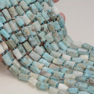 """Shop Larimar Faceted Beads! Genuine Natural Rough Larimar Gemstone Blue Grade A 9×7-11x8MM Faceted Round Tube Loose Beads 16"""" BULK LOT 1,2,6,12 and 50 (80007059-A237) 