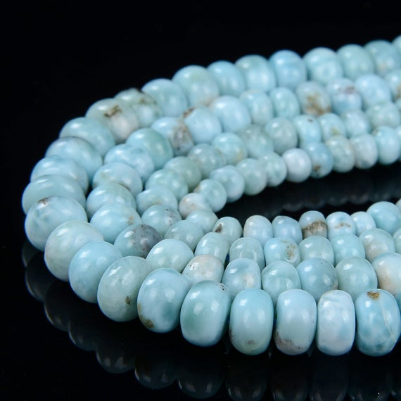 Natural Dominican Larimar Gemstone Grade Aa Blue Rondelle 4mm 5mm 6mm 7mm 8mm Loose Beads 7.5 Inch Half Strand (923)