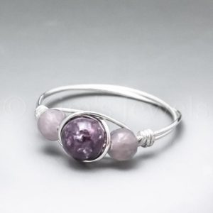 Shop Lepidolite Rings! Dark & Light Lepidolite Sterling Silver Wire Wrapped Gemstone BEAD Ring – Made to Order, Ships Fast! | Natural genuine Lepidolite rings, simple unique handcrafted gemstone rings. #rings #jewelry #shopping #gift #handmade #fashion #style #affiliate #ad