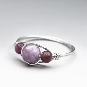 Shop Lepidolite Rings! Light Lepidolite Faceted & Dark Lepidolite Sterling Silver Wire Wrapped Gemstone BEAD Ring – Made to Order, Ships Fast! | Natural genuine Lepidolite rings, simple unique handcrafted gemstone rings. #rings #jewelry #shopping #gift #handmade #fashion #style #affiliate #ad