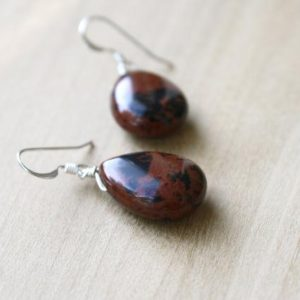 Mahogany Obsidian Earrings Dangle . Teardrop Gemstone Earrings Drop . Protection Earrings | Natural genuine Gemstone earrings. Buy crystal jewelry, handmade handcrafted artisan jewelry for women.  Unique handmade gift ideas. #jewelry #beadedearrings #beadedjewelry #gift #shopping #handmadejewelry #fashion #style #product #earrings #affiliate #ad