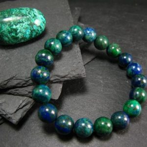 Shop Malachite Jewelry! Quantum Quattro (Dioptase Chrysocola Malachite Shattuckite) Genuine Bracelet ~ 7 Inches  ~ 10mm Round Beads | Natural genuine Malachite jewelry. Buy crystal jewelry, handmade handcrafted artisan jewelry for women.  Unique handmade gift ideas. #jewelry #beadedjewelry #beadedjewelry #gift #shopping #handmadejewelry #fashion #style #product #jewelry #affiliate #ad