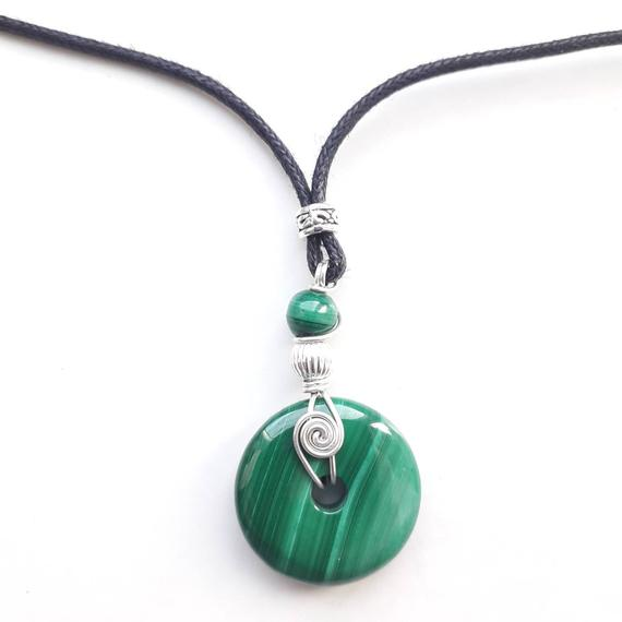 Small Malachite Donut Pendant,  Crystal Pi Necklace With Sterling Silver Spiral, Vegan Leather, Creativity Gift For Her