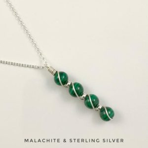Shop Malachite Necklaces! Malachite necklace with Sterling Silver | Natural genuine Malachite necklaces. Buy crystal jewelry, handmade handcrafted artisan jewelry for women.  Unique handmade gift ideas. #jewelry #beadednecklaces #beadedjewelry #gift #shopping #handmadejewelry #fashion #style #product #necklaces #affiliate #ad