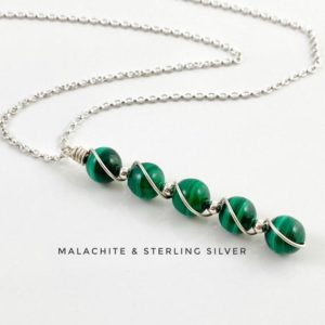 Shop Malachite Necklaces! Malachite necklace with Sterling Silver. Natural Genuine Gemstone. | Natural genuine Malachite necklaces. Buy crystal jewelry, handmade handcrafted artisan jewelry for women.  Unique handmade gift ideas. #jewelry #beadednecklaces #beadedjewelry #gift #shopping #handmadejewelry #fashion #style #product #necklaces #affiliate #ad