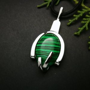 Shop Malachite Pendants! malachite pendant, fork necklace, green crystal, statement necklaces for him, silver and stone necklace for men, unusual jewelry, chef gifts | Natural genuine Malachite pendants. Buy handcrafted artisan men's jewelry, gifts for men.  Unique handmade mens fashion accessories. #jewelry #beadedpendants #beadedjewelry #shopping #gift #handmadejewelry #pendants #affiliate #ad