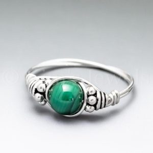 Shop Malachite Rings! Malachite Bali Sterling Silver Wire Wrapped Gemstone BEAD Ring – Made to Order, Ships Fast! | Natural genuine Malachite rings, simple unique handcrafted gemstone rings. #rings #jewelry #shopping #gift #handmade #fashion #style #affiliate #ad