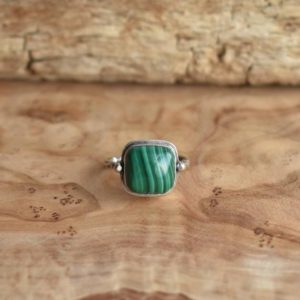 Shop Malachite Rings! Malachite Chelsea Ring – .925 Sterling Silver Ring – Silversmith Ring | Natural genuine Malachite rings, simple unique handcrafted gemstone rings. #rings #jewelry #shopping #gift #handmade #fashion #style #affiliate #ad