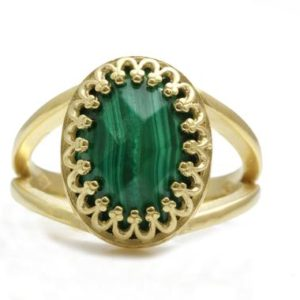 Shop Malachite Rings! Unique oval cut ring,malachite ring,crown ring,lace solitaire ring,gold ring,yellow gold filled ring,solid gold ring,14k rings for women | Natural genuine Malachite rings, simple unique handcrafted gemstone rings. #rings #jewelry #shopping #gift #handmade #fashion #style #affiliate #ad