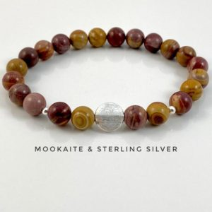 Shop Mookaite Bracelets! Mookaite, Crystal Bracelet, Sterling Silver, Burgundy, Mustard, Ochre | Natural genuine Mookaite bracelets. Buy crystal jewelry, handmade handcrafted artisan jewelry for women.  Unique handmade gift ideas. #jewelry #beadedbracelets #beadedjewelry #gift #shopping #handmadejewelry #fashion #style #product #bracelets #affiliate #ad