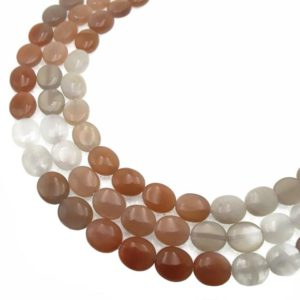 """Shop Moonstone Bead Shapes! Multi-Color Moonstone Smooth Flat Oval Beads 8x10mm 15.5"""" Strand 