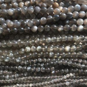 Shop Moonstone Round Beads! Natural Gray Moonstone  5mm 6mm Smooth  Round  Gemstone Beads–15.5 inch strand-1 strand/3 strands | Natural genuine round Moonstone beads for beading and jewelry making.  #jewelry #beads #beadedjewelry #diyjewelry #jewelrymaking #beadstore #beading #affiliate #ad