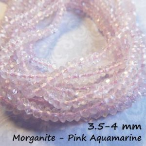 Shop Morganite Faceted Beads! AQUAMARINE Gemstone Rondelles Beads Full Strand 3.5-4 mm Luxe AAA Morganite Pink Faceted Gem Roundels March Birthstone solo ar15 | Natural genuine faceted Morganite beads for beading and jewelry making.  #jewelry #beads #beadedjewelry #diyjewelry #jewelrymaking #beadstore #beading #affiliate #ad