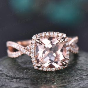 Cushion morganite ring morganite engagement ring rose gold vintage halo diamond ring infinity unique  jewelry promise wedding bridal ring | Natural genuine Array rings, simple unique alternative gemstone engagement rings. #rings #jewelry #bridal #wedding #jewelryaccessories #engagementrings #weddingideas #affiliate #ad