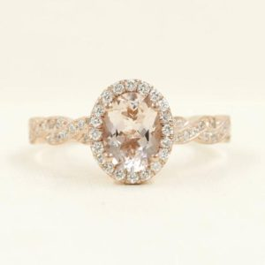 Shop Morganite Rings! Diamond Engagement Ring.Oval Shaped Diamond Halo Morganite Engagement Ring & Infinity Diamond Band.Morganite Art Deco Engagement 2pcs Set | Natural genuine Morganite rings, simple unique alternative gemstone engagement rings. #rings #jewelry #bridal #wedding #jewelryaccessories #engagementrings #weddingideas #affiliate #ad