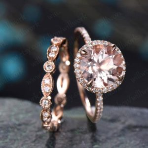Shop Morganite Rings! Morganite engagement ring set solid 14k rose gold ring full eternity marquise diamond band antique halo big wedding promise bridal ring set | Natural genuine Morganite rings, simple unique alternative gemstone engagement rings. #rings #jewelry #bridal #wedding #jewelryaccessories #engagementrings #weddingideas #affiliate #ad