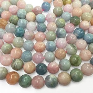 Shop Morganite Round Beads! 12mm Natural Multicolor Morganite Beads, Round Gemstone Beads, Wholesale Beads | Natural genuine round Morganite beads for beading and jewelry making.  #jewelry #beads #beadedjewelry #diyjewelry #jewelrymaking #beadstore #beading #affiliate #ad