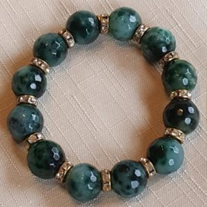 Shop Moss Agate Bracelets! Moss Agate Beaded Bracelet with Diamante Rondelle Accent Beads | Natural genuine Moss Agate bracelets. Buy crystal jewelry, handmade handcrafted artisan jewelry for women.  Unique handmade gift ideas. #jewelry #beadedbracelets #beadedjewelry #gift #shopping #handmadejewelry #fashion #style #product #bracelets #affiliate #ad