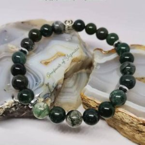 Shop Moss Agate Bracelets! Moss Agate Bracelet, Green Aqeeq Bracelet, Natural Aqiq Wristband, Genuine Akik Stone, 8 mm Beads, Birthday Gift | Natural genuine Moss Agate bracelets. Buy crystal jewelry, handmade handcrafted artisan jewelry for women.  Unique handmade gift ideas. #jewelry #beadedbracelets #beadedjewelry #gift #shopping #handmadejewelry #fashion #style #product #bracelets #affiliate #ad