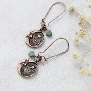 Shop Moss Agate Earrings! Moss Agate Earrings, Copper Moon and Stars Jewellery, Rustic Jewelry, Celestial Earrings, Long Dangle Earrings, Woodland Style, Gift for Her | Natural genuine Moss Agate earrings. Buy crystal jewelry, handmade handcrafted artisan jewelry for women.  Unique handmade gift ideas. #jewelry #beadedearrings #beadedjewelry #gift #shopping #handmadejewelry #fashion #style #product #earrings #affiliate #ad