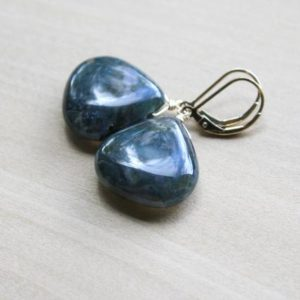 Shop Moss Agate Jewelry! Moss Agate Earrings Dangle . Lever Back Gemstone Earrings . Green Stone Earrings Gold | Natural genuine Moss Agate jewelry. Buy crystal jewelry, handmade handcrafted artisan jewelry for women.  Unique handmade gift ideas. #jewelry #beadedjewelry #beadedjewelry #gift #shopping #handmadejewelry #fashion #style #product #jewelry #affiliate #ad